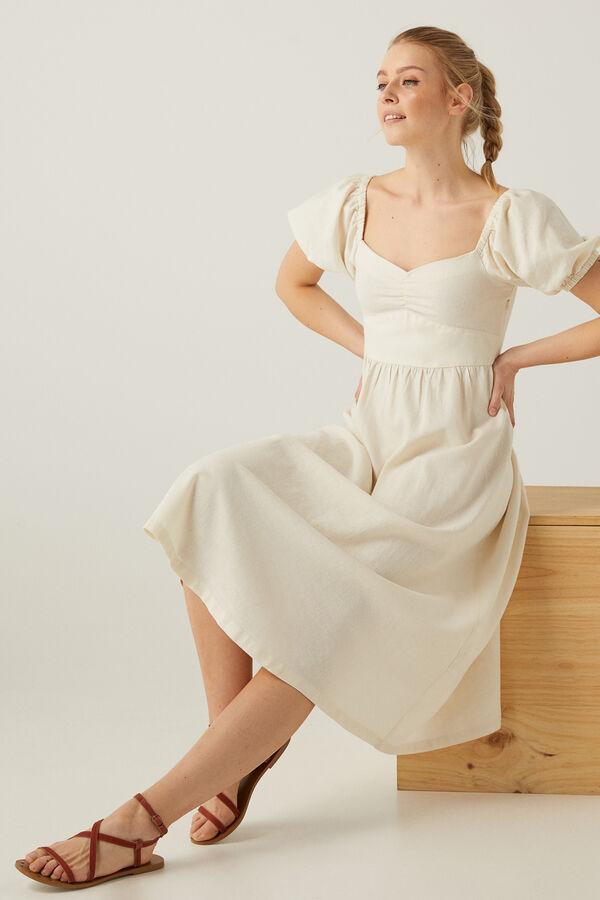 Vestido midi lino sostenible en blanco roto