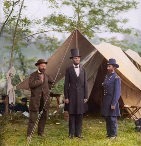 President Lincoln With Major General Mcclernand And Allan Pinkerton At Antietam In 1862
