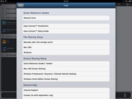 Información de la aplicación y sus opciones