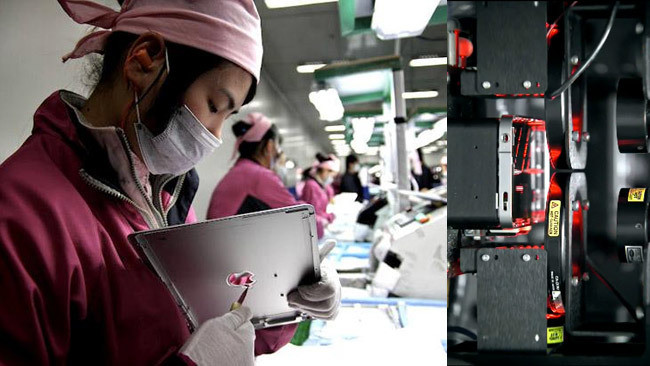 trabajadora en Foxconn