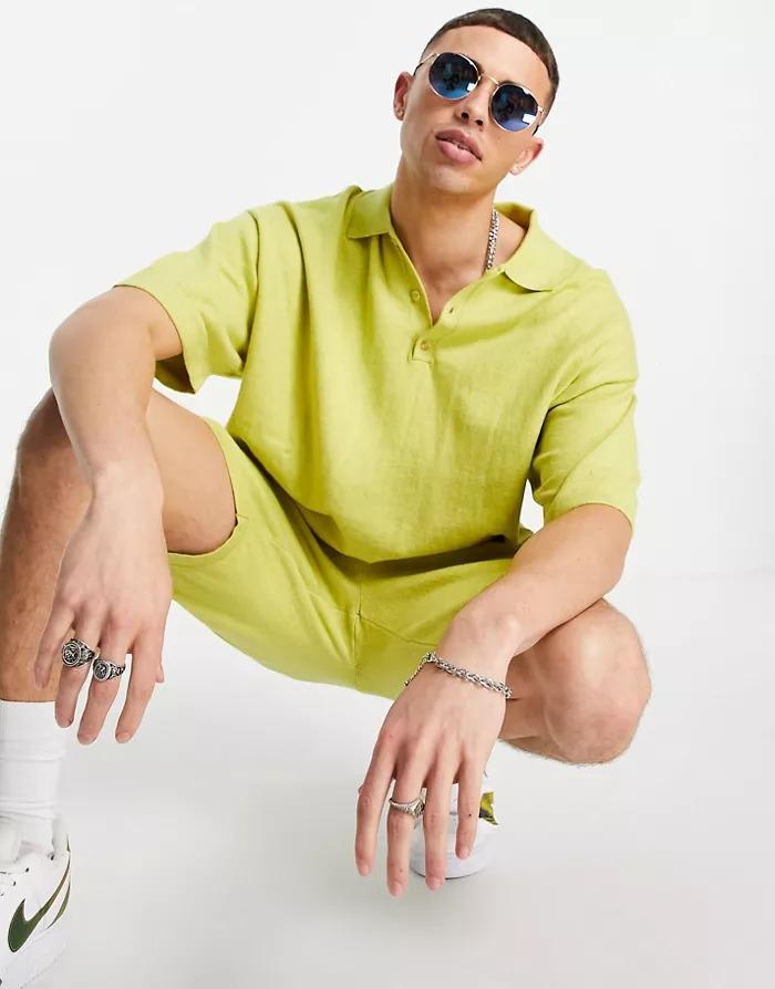 Camiseta amarilla estilo polo de punto de mezcla de lino de ASOS DESIGN (parte de un conjunto)
