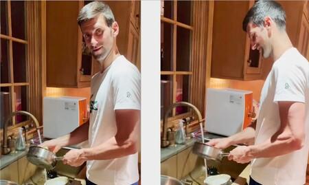 Ni el campeón del tenis, Novak Djokovic se salva de lavar los trastes en la cocina