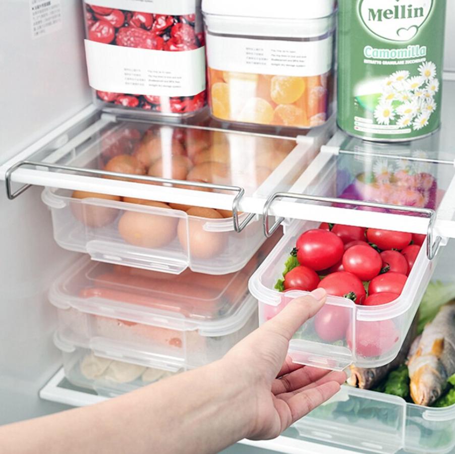 Transparente de plástico de almacenamiento de cajón refrigerador colgantes de almacenamiento con caja-gancho para cajones cajón de cuidador de alimentos contenedor