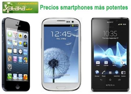 Comparativa Precios iPhone 5, Samsung Galaxy SIII y Sony Xperia T