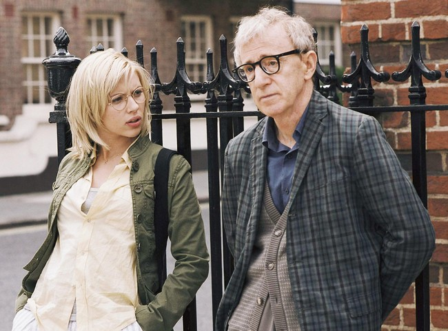Woody Allen with Scarlett Johansson in Scoop