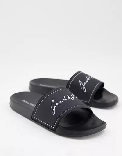 Sandalias negro carbón para piscina de Jack & Jones
