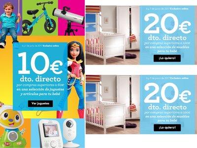 En ToysRus 10 euros de descuento en juguetes y 20 euros de descuento en muebles para bebes