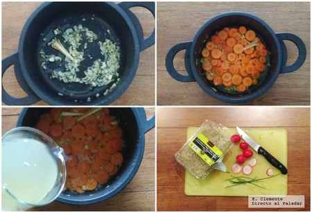 crema zanahoria langostinos paso a paso