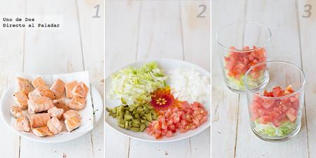 Ensalada multicolor con salmón salteado. Receta paso a paso