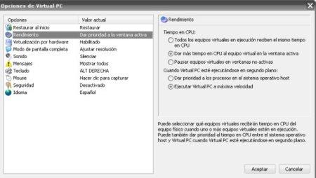 Opciones rendimiento VirtualPc