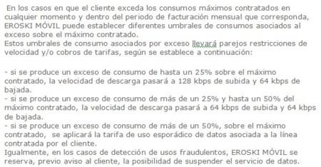 Condiciones particulares de uso de Internet