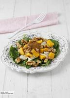 Ensalada de bacalao y vinagreta de mango. Receta