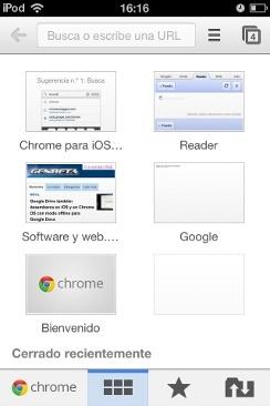 Página de nueva pestaña en Chrome para iOS