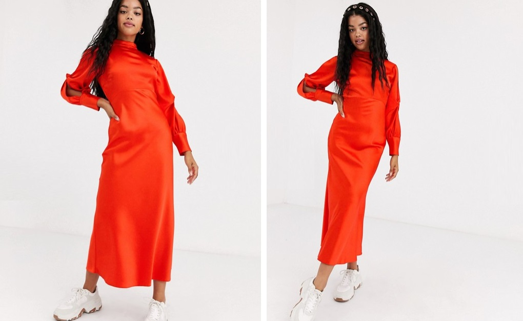 Vestido de satén con cut-outs en las mangas