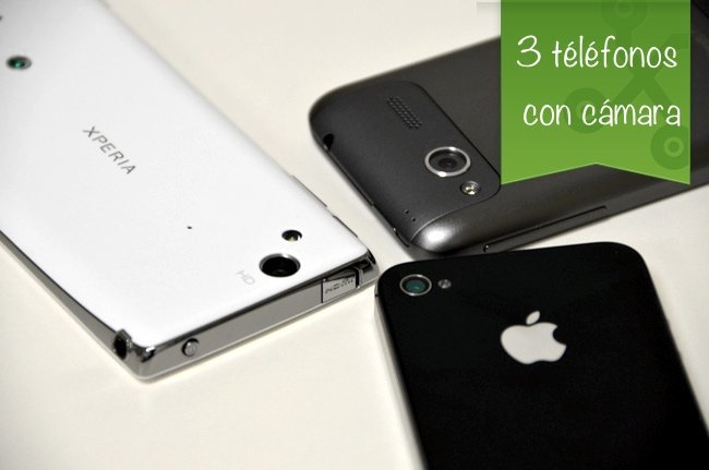 tres teléfonos con cámara