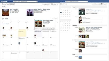 Facebook rediseña la sección de eventos incorporando visualizaciones de lista y calendario