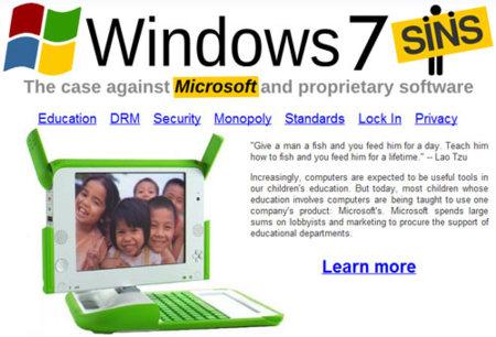 Siete pecados de Windows (y uno de la FSF)