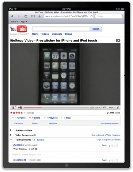 ipad apple youtube html5