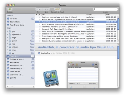 Read Air, Google Reader en Adobe AIR