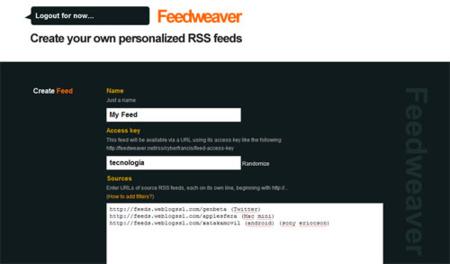 Feedweaver, generar nuestros canales RSS nunca fue tan sencillo