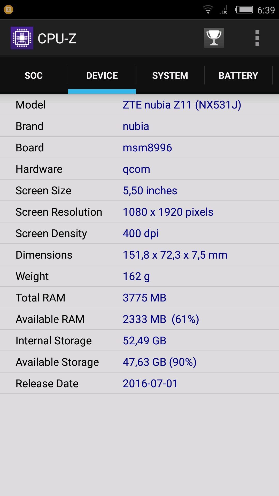 Nubia Z11, benchmarks