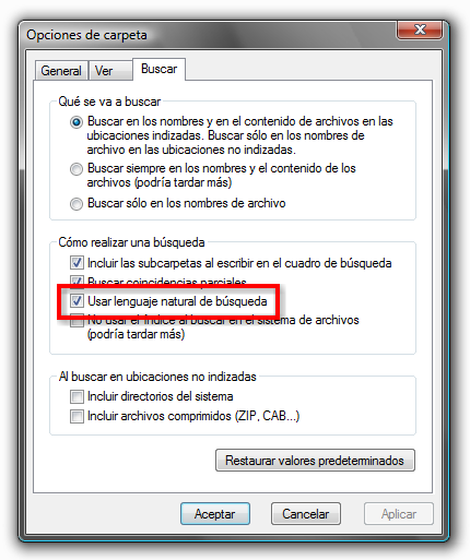 Activar busqueda natural en Windows Vista