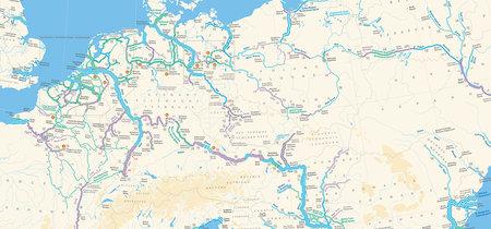 Cruzar Europa en barco: la extensísima red de autovías fluviales del viejo continente, en un mapa