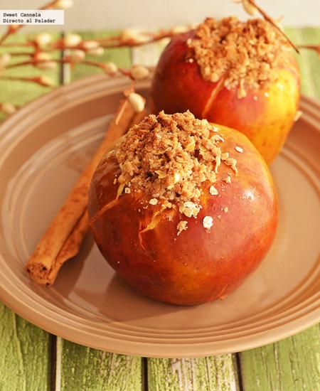 Manzanas al horno con ron y crumble de avena. Receta