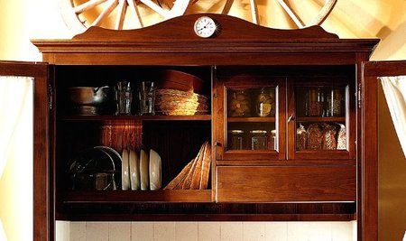 Cocina vintage compacta, parte superior.