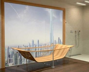 Wave Diamond Bathtub, una bañera de caoba y vidrio que parece una obra de arte