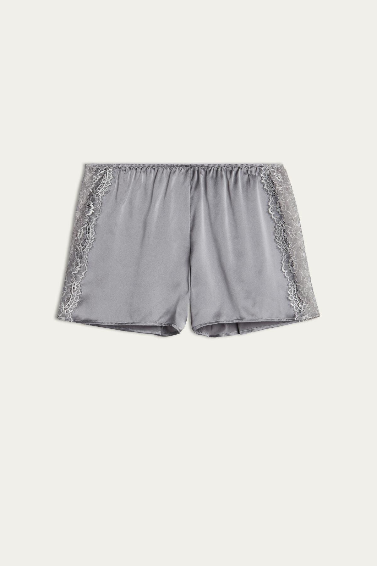 Shorts de encaje y seda