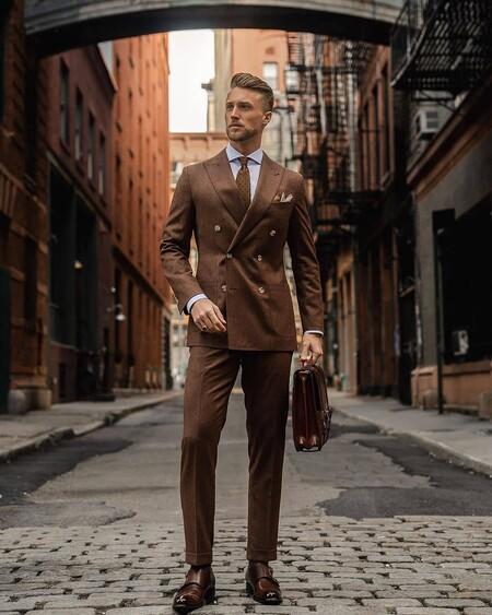 El Mejor Street Style De La Semana Brown Suit Trendencias Hombre 13