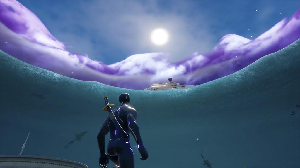 Fortnite inunda su mapa con un tsunami, tiburones, y una vista FPS en el evento El Dispositivo. Aquí tienes los mejores vídeos