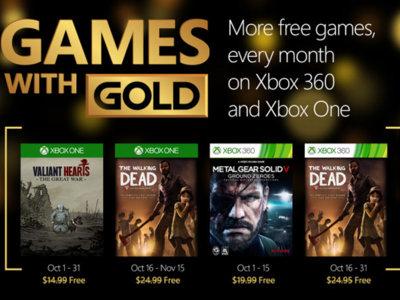 Los Games With Gold de octubre incluyen a The Walking Dead y Metal Gear Solid: Ground Zeroes