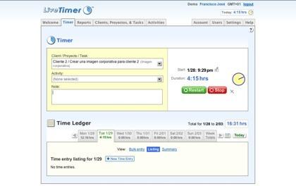 Livetimer, seguimiento del consumo de tiempo de cada proyecto