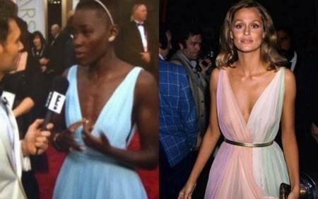 Lupita Nyong'o con vestido muy similar al que llevó Lauren Hutton en los Oscar de 1975