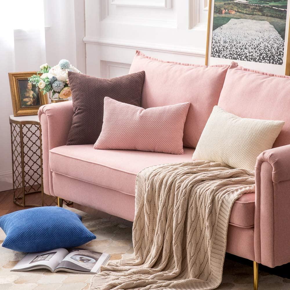MIULEE Fundas Cojines para Cama Funda de Almohada de Pana Cojin Rectangular de Sofa Color Solido Poliéster Decoracion para Habitacion Dormitorio Oficina Silla Salon Comedor 2 Pieza 30x50cm Rosa