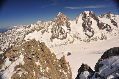 Balanceándote de pico en pico, en el teleférico de Chamonix al Mont Blanc