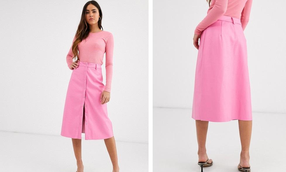 Falda midi con botones en cuero sintético