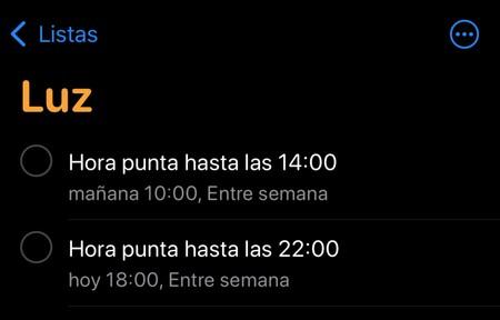 Recordatorios Iphone Tarifa Luz