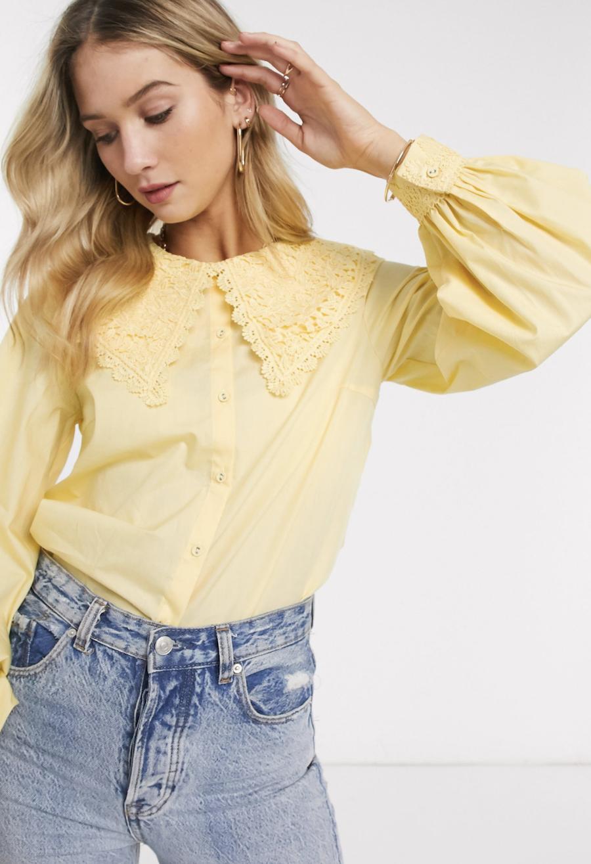 Camisa con cuello extragrande de encaje amarillo de Y.A.S