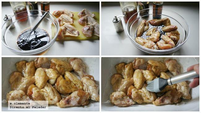 Alitas de pollo laqueadas con salsa Worcestershire