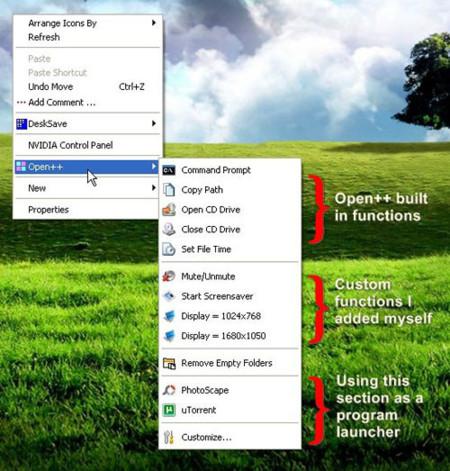 Open++ añade funciones al menú contextual de Windows