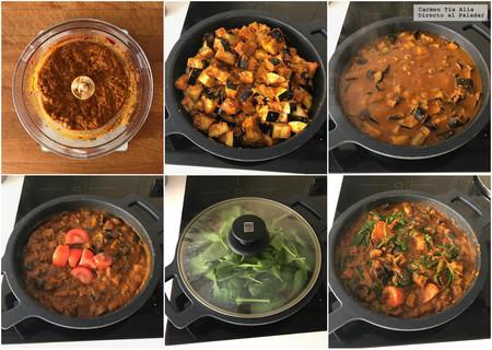 Paso A Paso Curry De Berenjena Tomate Y Espinacas