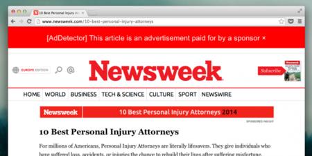AdDetector te marca los artículos que pueden ser patrocinados