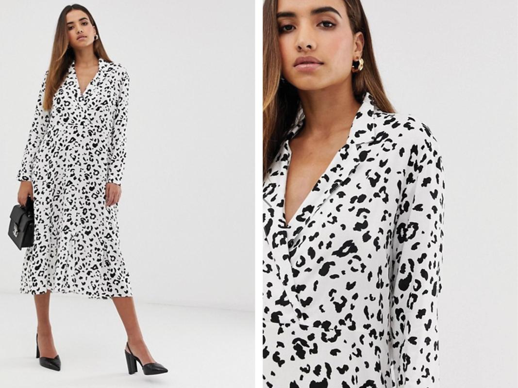 Vestido midi con estampado de leopardo monocromático con detalle de cuello de ASOS DESIGN