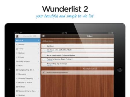 Wunderlist para iOS se actualiza, ahora con soporte para iPad