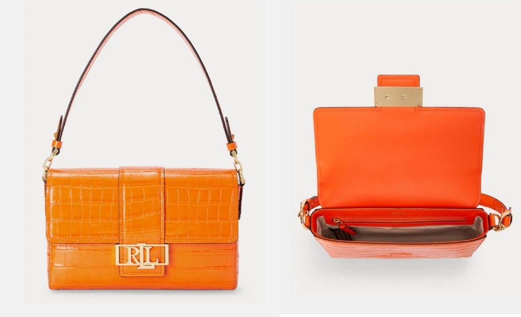 Bolso de hombro mediano Lauren Ralph Lauren Spencer de piel en naranja con grabado coco