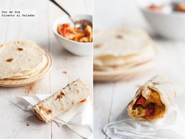 Fajitas de pollo con verduras. Receta mexicana