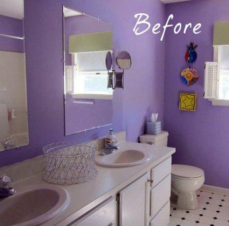 Antes y después: quitar el violeta de un baño